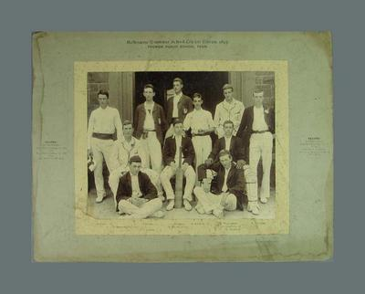 Photograph of Melbourne Grammar School XI, 1897