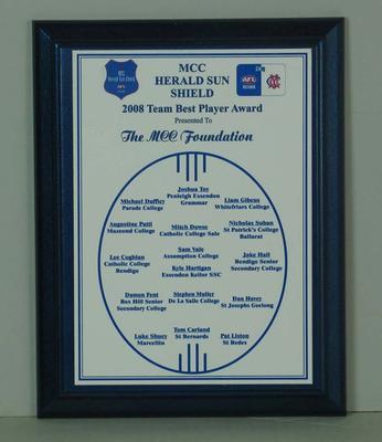 2008 Team Best Player Award, MCC Herald Sun Shield