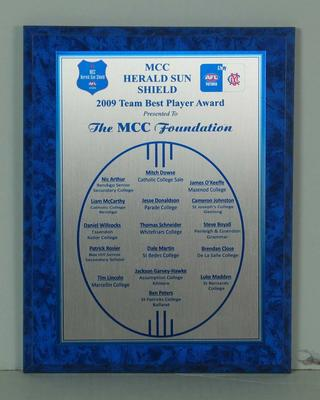 2009 Team Best Player Award, MCC Herald Sun Shield