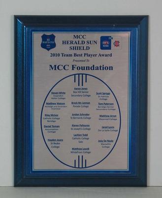2010 Team Best Player Award, MCC Herald Sun Shield