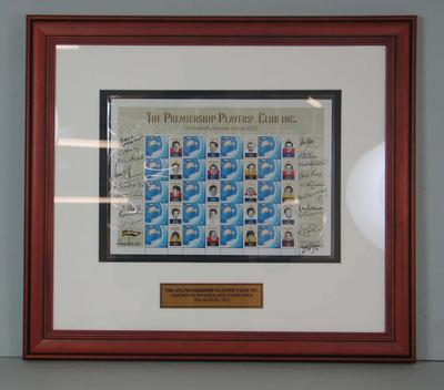 Framed AFL Premiership Players' Club commemorative Australia Post stamps, 2012; Philatelics and currency; M16730