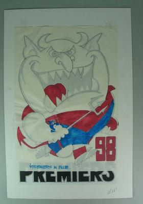 Original artwork for WEG losing grand final poster, Melbourne Football Club 1998.