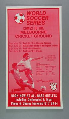 Poster advertising World Soccer Series at the MCG, c1980s