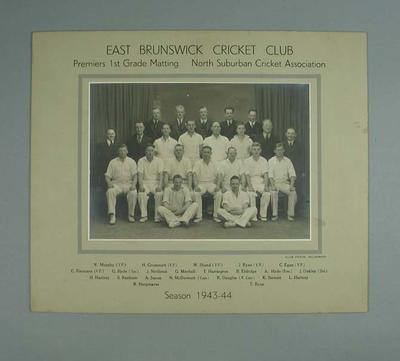 Photograph of East Brunswick Cricket Club, First Grade Premiers - 1943/44 season