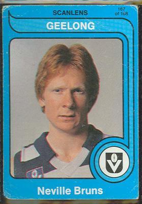 1980 Scanlens (Scanlens) Australian Football Neville Bruns Trade Card