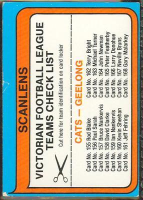 1980 Scanlens (Scanlens) Australian Football Geelong Football Club Checklist Trade Card