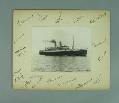 Photograph of SS Orontes, autographed by members of England cricket team - 1932