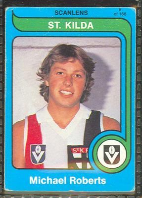 1980 Scanlens (Scanlens) Australian Football Michael Roberts Trade Card