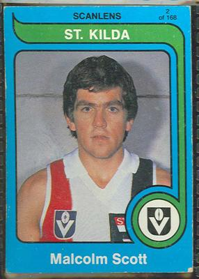 1980 Scanlens (Scanlens) Australian Football Malcolm Scott Trade Card