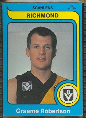 1980 Scanlens (Scanlens) Australian Football Graeme Robertson Trade Card