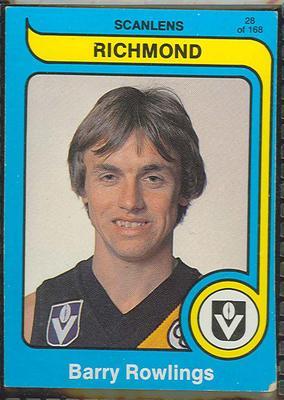 1980 Scanlens (Scanlens) Australian Football Barry Rowlings Trade Card