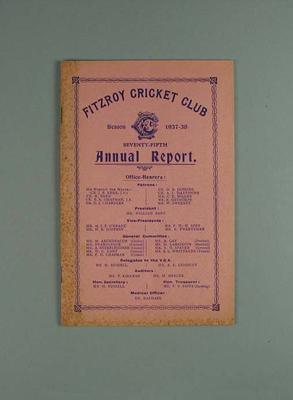 Annual report, Fitzroy Cricket Club - season 1937/38