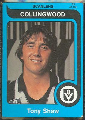 1980 Scanlens (Scanlens) Australian Football Tony Shaw Trade Card