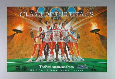 Poster advertising Australian Open at Kooyong, 1985