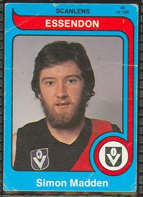 1980 Scanlens (Scanlens) Australian Football Simon Madden Trade Card