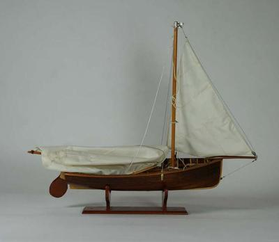Scale model of a 12ft cadet dinghy made by Mr Jack H Linacre
