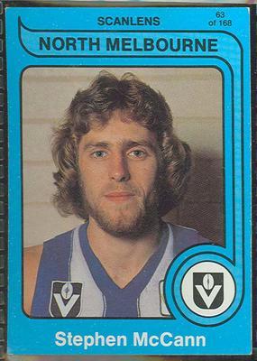 1980 Scanlens (Scanlens) Australian Football Stephen McCann Trade Card