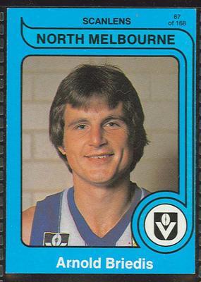 1980 Scanlens (Scanlens) Australian Football Arnold Briedis Trade Card