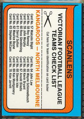 1980 Scanlens (Scanlens) Australian Football North Melbourne Football Club Checklist Trade Card