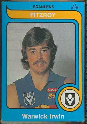 1980 Scanlens (Scanlens) Australian Football Warwick Irwin Trade Card