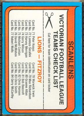 1980 Scanlens (Scanlens) Australian Football Fitzroy Football Club Checklist Trade Card