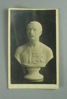 Postcard, depicts bust of Matthew Webb, first man to do a cross channel swim in 1875