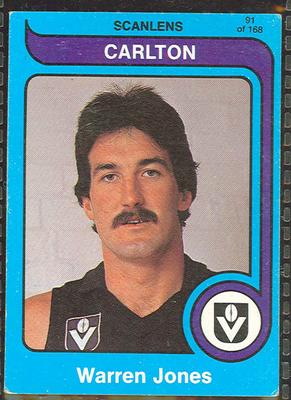 1980 Scanlens (Scanlens) Australian Football Warren Jones Trade Card