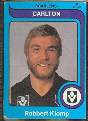 1980 Scanlens (Scanlens) Australian Football Robbert Klomp Trade Card