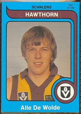 1980 Scanlens (Scanlens) Australian Football Alle De Wolde Trade Card