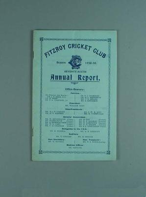 Annual report, Fitzroy Cricket Club - season 1938/39