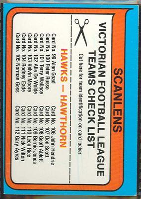 1980 Scanlens (Scanlens) Australian Football Hawthorn Football Club Checklist Trade Card