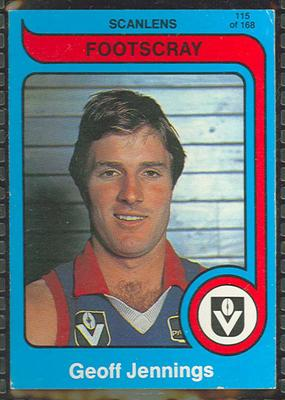 1980 Scanlens (Scanlens) Australian Football Geoff Jennings Trade Card