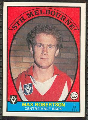 1978 Scanlens (Scanlens) Australian Football Max Robertson Trade Card