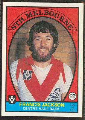 1978 Scanlens (Scanlens) Australian Football Francis Jackson Trade Card