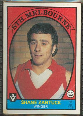 1978 Scanlens (Scanlens) Australian Football Shane Zantuck Trade Card