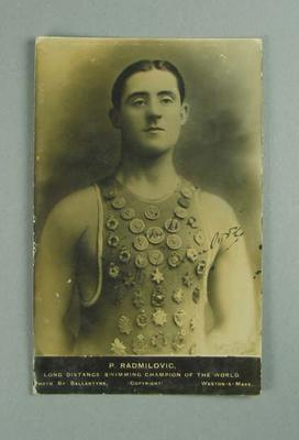 Postcard with image of Paulo Radmilovic, undated