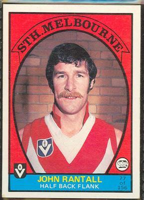 1978 Scanlens (Scanlens) Australian Football John Rantall Trade Card