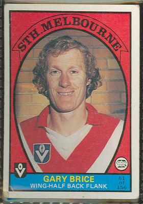 1978 Scanlens (Scanlens) Australian Football Gary Brice Trade Card
