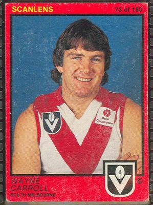 1982 Scanlens (Scanlens) Australian Football Wayne Carroll Trade Card