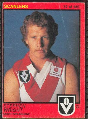 1982 Scanlens (Scanlens) Australian Football Stephen Wright Trade Card