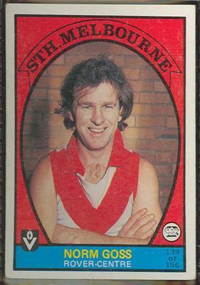 1978 Scanlens (Scanlens) Australian Football Norm Goss Trade Card