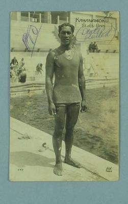 'Duke' Kahanamoku, Hawaiian swimmer, Olympic medalist, surfer; Documents and books; 1986.1304.202