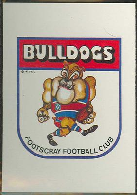 1981 Scanlens (Scanlens) Australian Football Footscray Football Club Checklist Trade Card