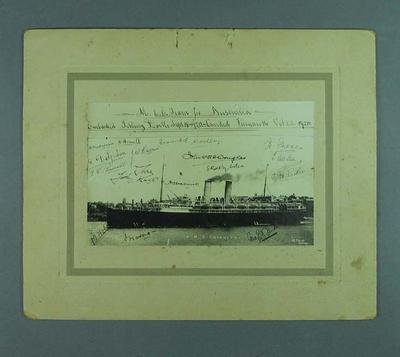 Photograph of RMS Osterley, autographed by English cricket team for Australia - 1920; Photography; 1989.2119.1