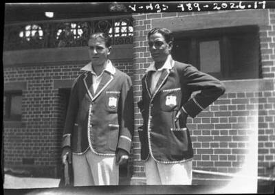 Negative, depicts West Indian cricketers c1932