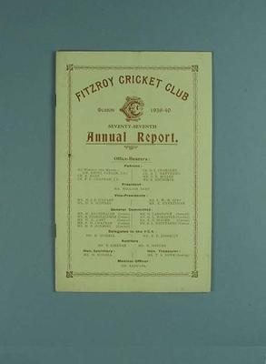Annual report, Fitzroy Cricket Club - season 1939/40