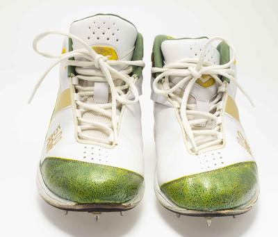 Commemorative cricket boots worn by Glenn McGrath after taking his 500th Test wicket, 2005
