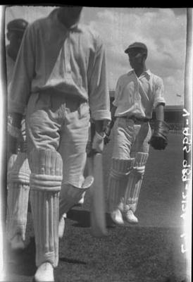 Negative, depicts three cricketers c1932