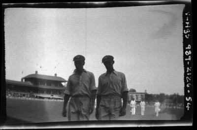 Negative, depicts two cricketers c1932