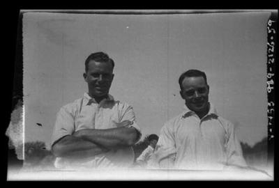 Negative, depicts cricketers c1932